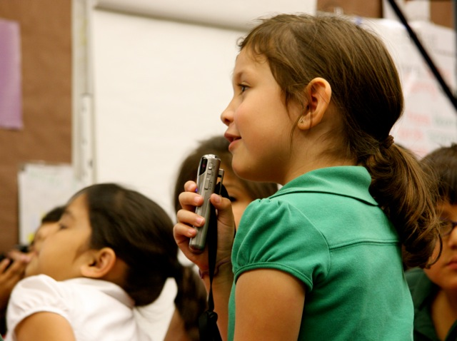 Washington Elementary students need microphones to talk